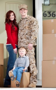 Military Family with Moving Boxes