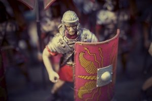 Ancient Roman soldier with his shield